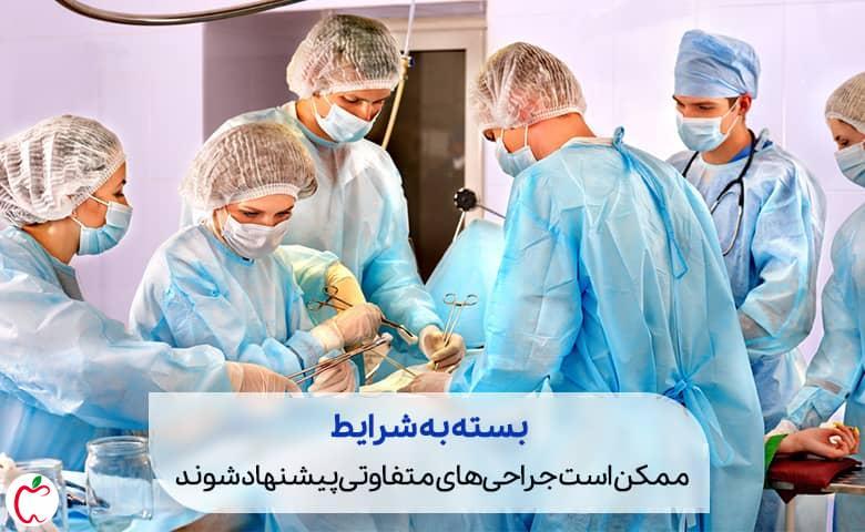 جراح در حال جراحی در اتاق عمل سیوطب