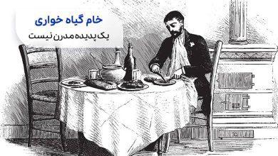 خام گیاه خواری| نقاشی مردی سر میز شام|سیوطب